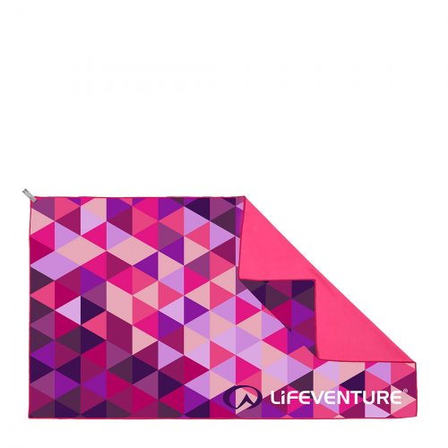 SoftFibre Triangle Print Travel Towel (Pink)