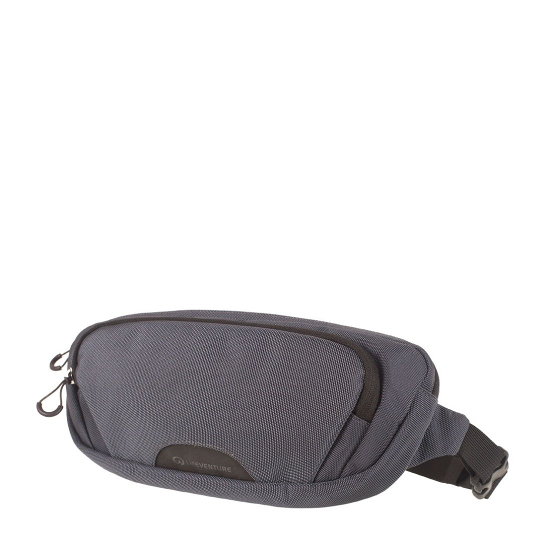 Grey RFiD hip pack 2 with external zipped pocket