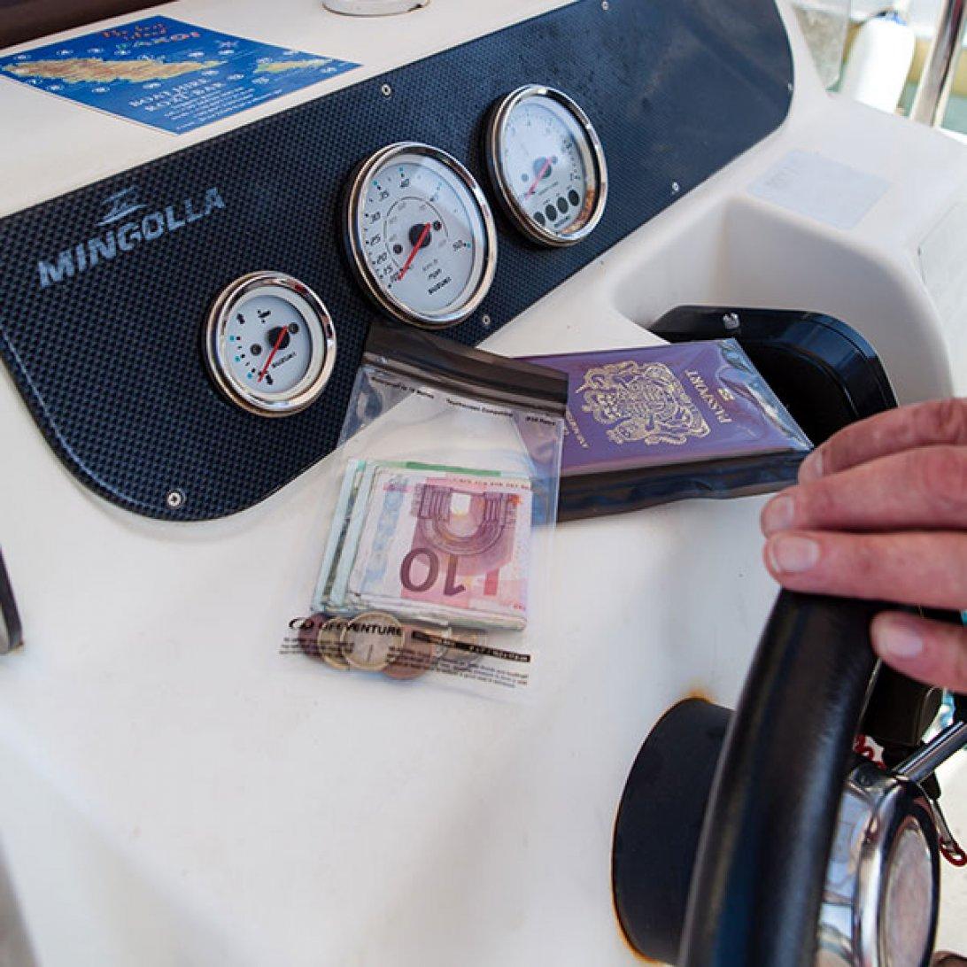 Money and passport in waterproof cases