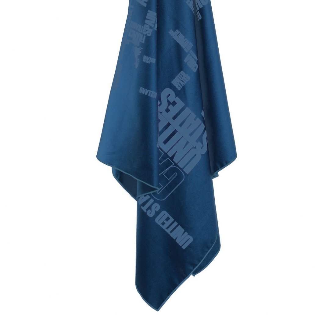 Softfibre Travel Towel Giant word print hanging - Blue