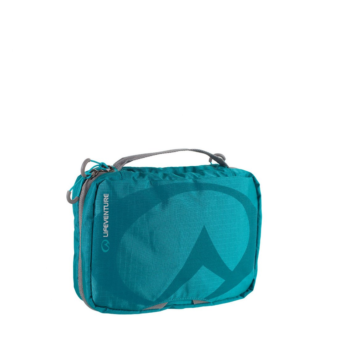 Blue small travel wash bag with mirror