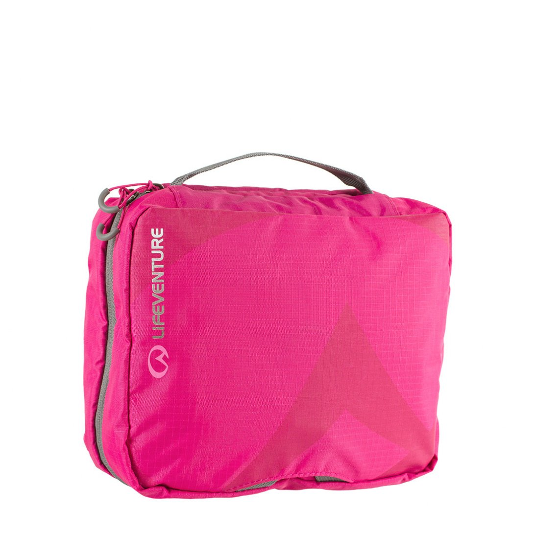 Pink large travel wash bag with mirror