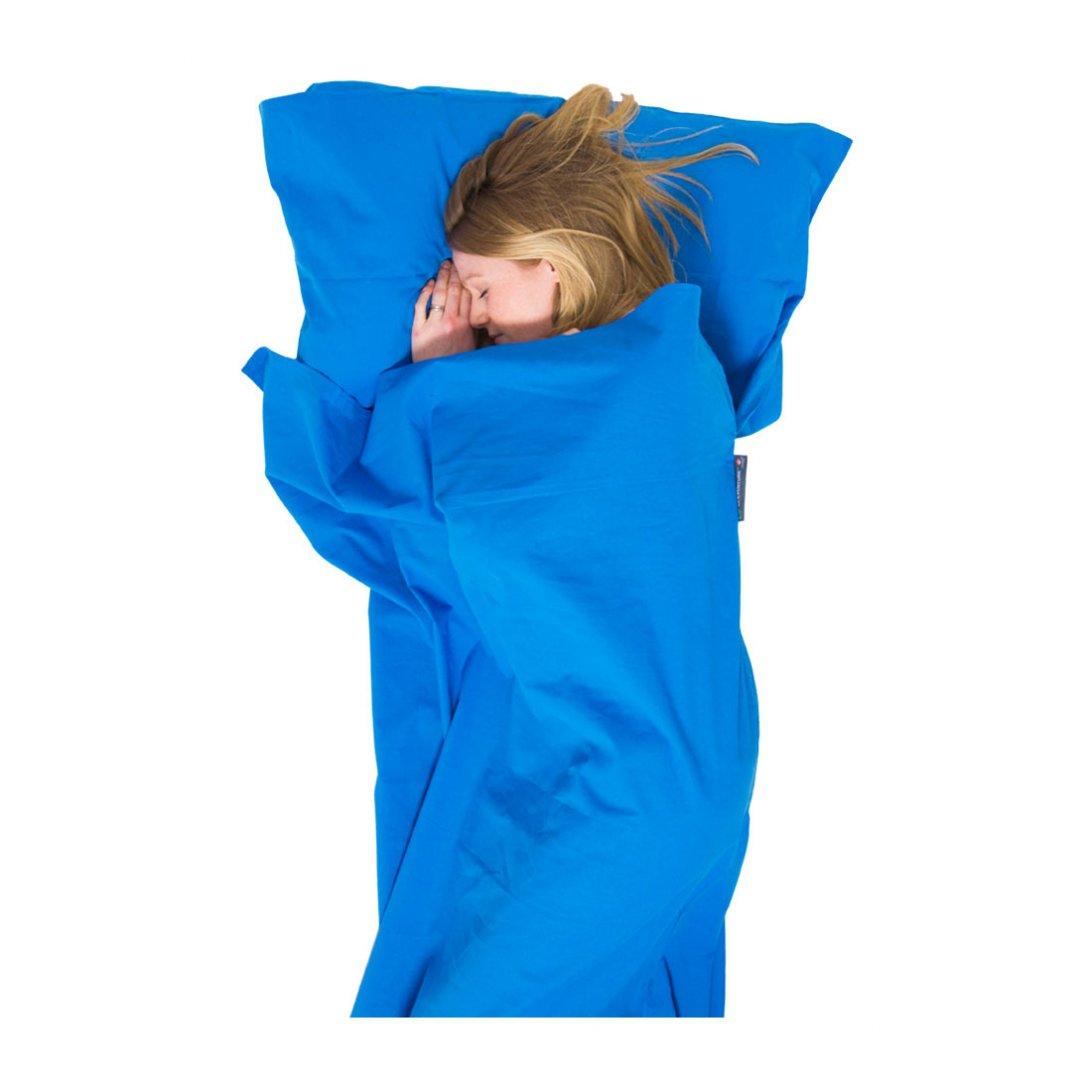 Blue cotton sleeping bag liner
