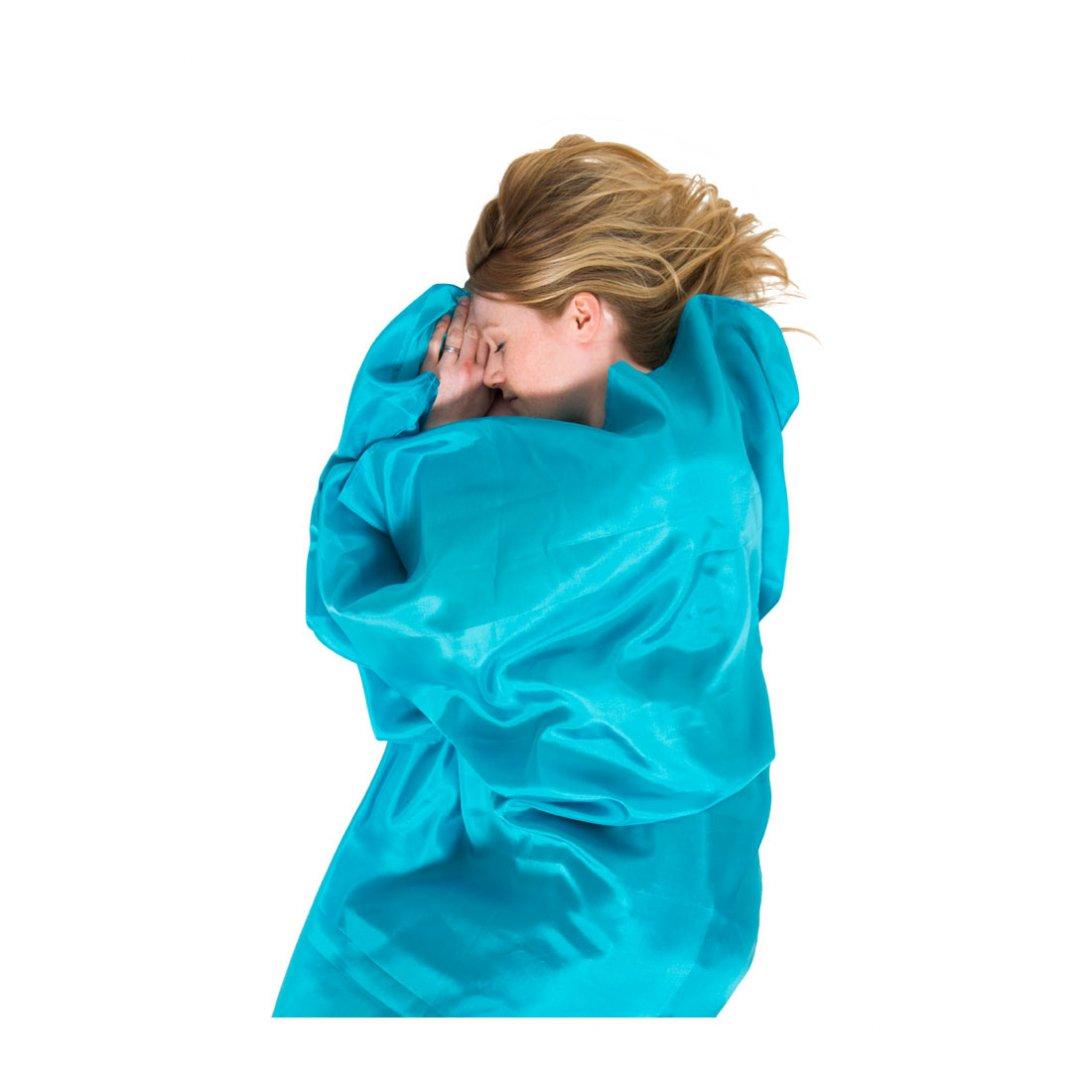 Aqua silk sleeping bag liner