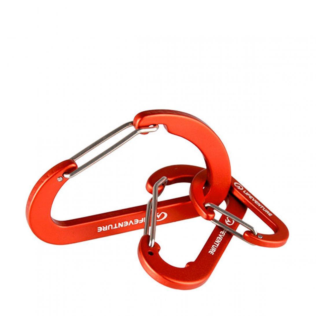 Three linked red karabiner clips