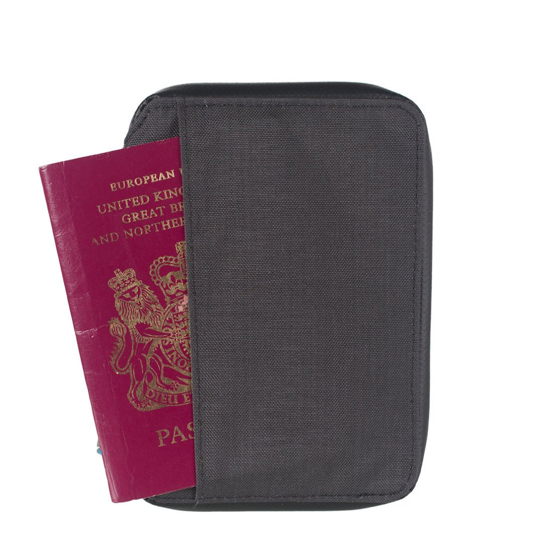 Grey RFiD small travel wallet