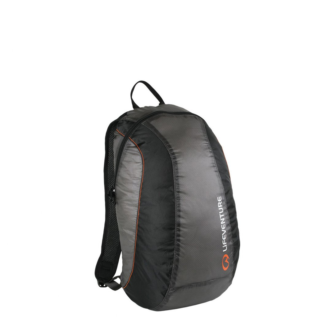 Grey and black packable rucksack with orange detailing