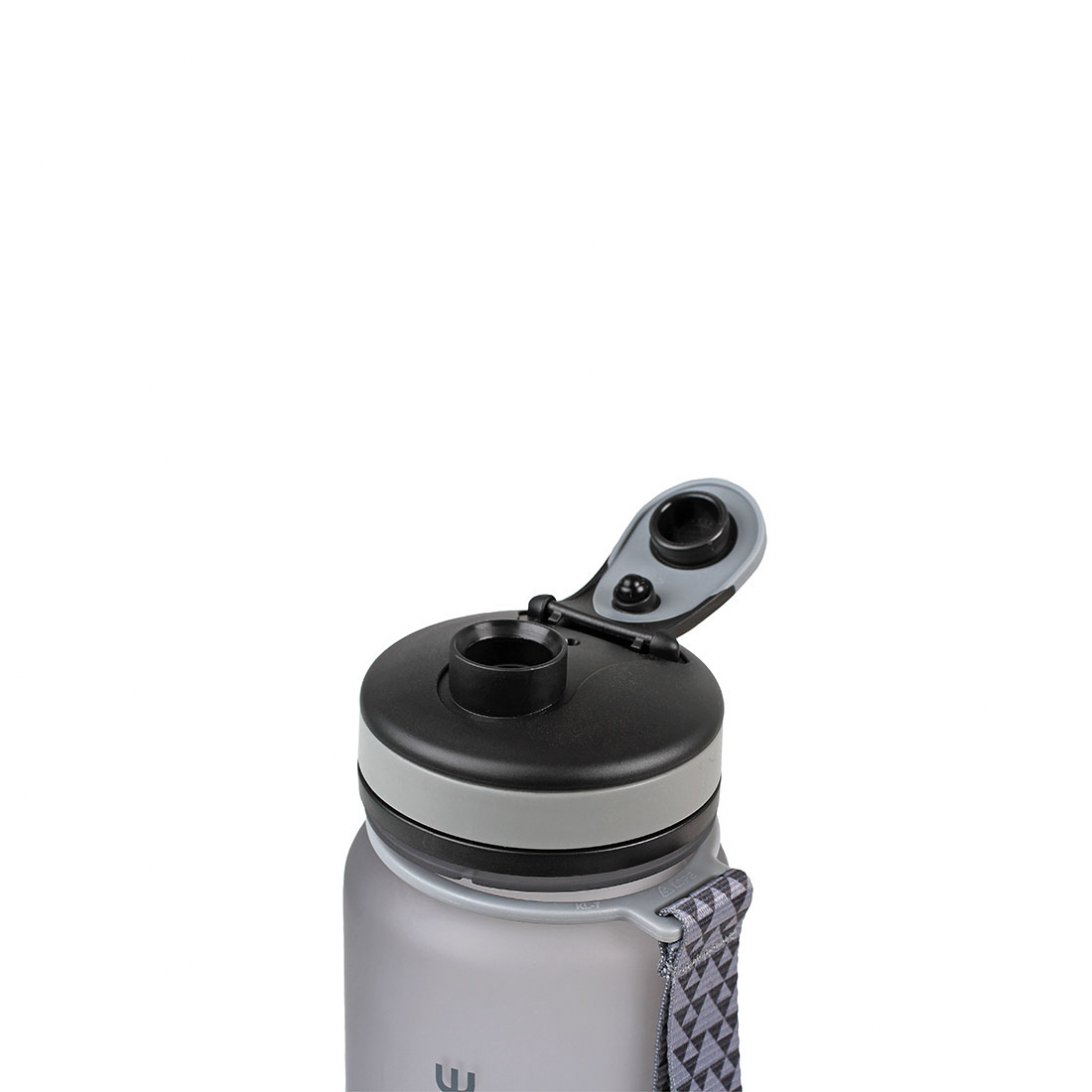 Tritan water bottle lid open - Grey