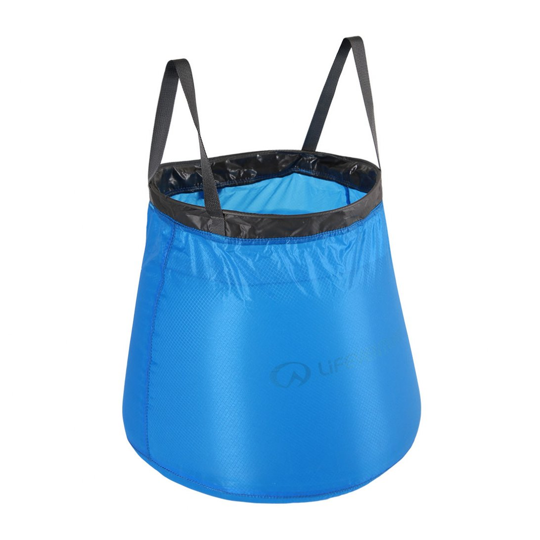 Blue collapsible bucket with black handles
