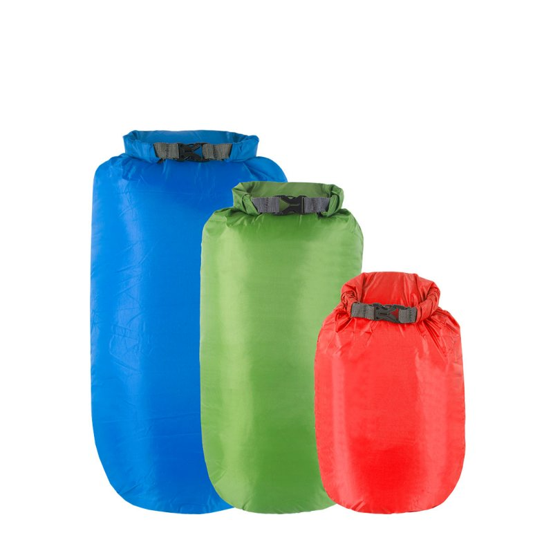 Red, green and blue roll top dry bags