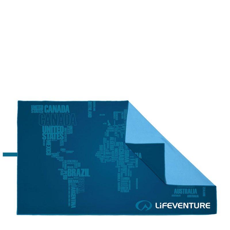 Softfibre Travel Towel Giant words print - Blue