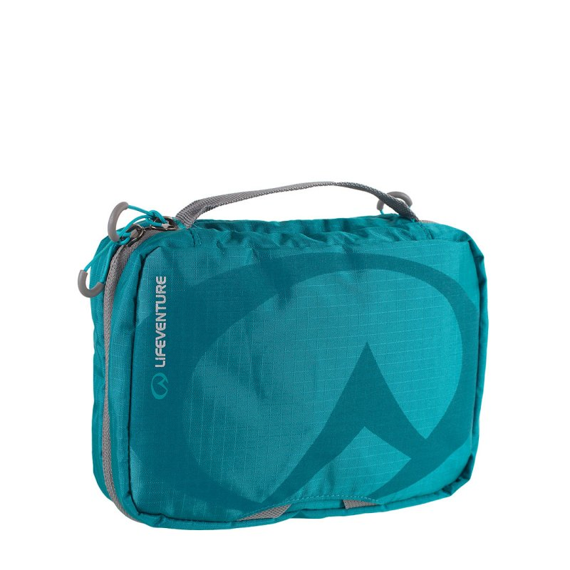 Blue large travel wash bag with mirror