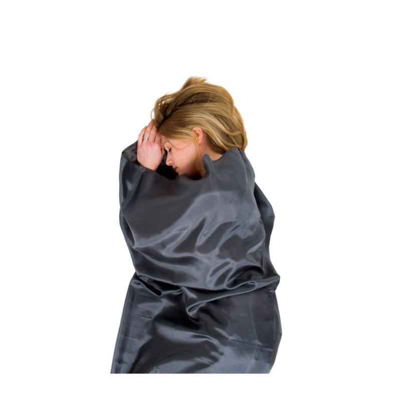 Grey silk sleeping bag liner