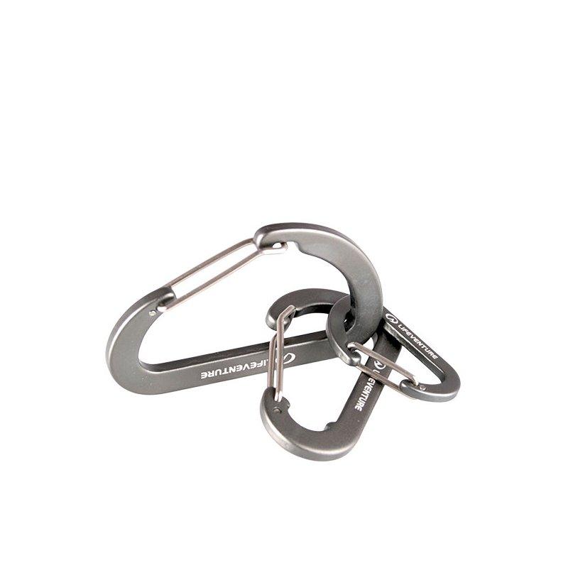 Three linked silver karabiner clips