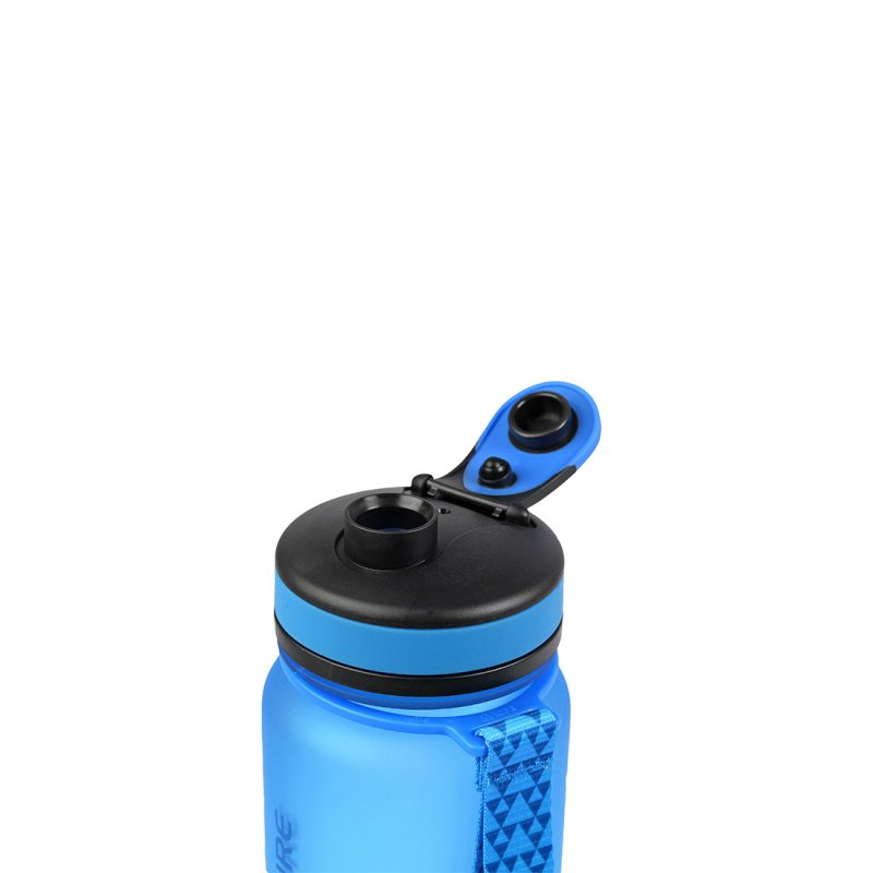 Tritan water bottle lid open - Blue
