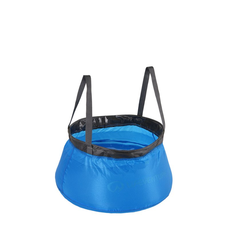 Blue collapsible bowl with black handles