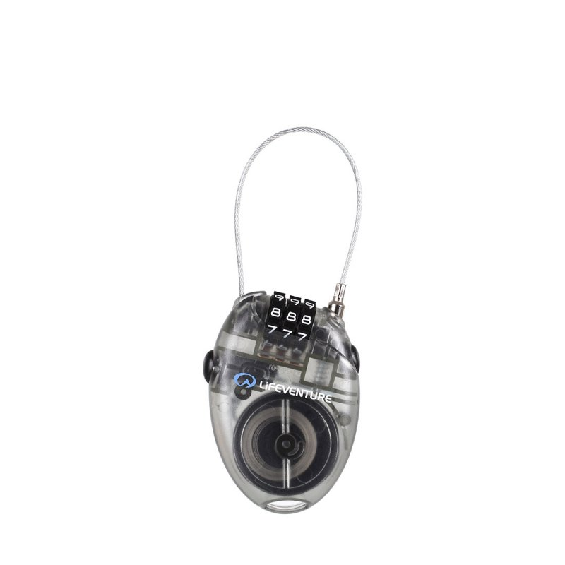 Clear mini cable lock with 3 digit combination